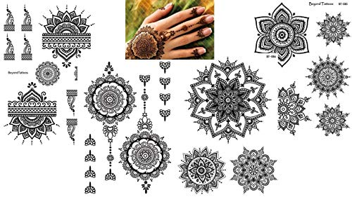 4 fogli Mandala tatuaggi a mano Set Mandala Romance