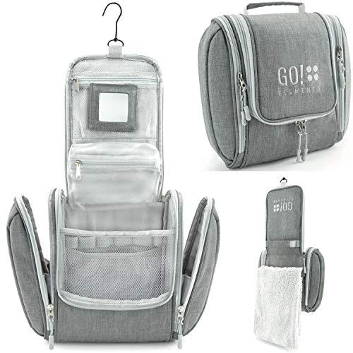 GO!elements® borsa da toilette per appendere uomini e donne | borsa cosmetica grande uomo donna per valigie e bagagli a mano | borsa da viaggio wash bag, Color:Grigio