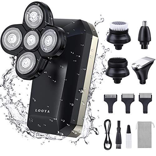 LOOYA 5 in 1 Rasoio Barba Elettrico Uomo Professionale, 4D Rasoi Regolabarba, per Testa Calva, Rasoio Naso, Bagnato e Asciutto, Impermeabile IPX6, Display LCD Intelligente, USB Ricaricabile