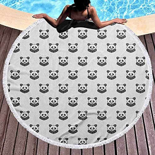 Telo da spiaggia rotondo Arazzo da tatuaggio Tappetino da yoga Nappe Cerchio stilizzato Ritratti di orso panda Simpatico motivo a mascotte per bambini in bianco e nero per viaggi, palestra, campeggio