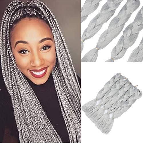 5 pezzi Jumbo treccia capelli sintetici 24 pollici 100g Kanekalon intrecciare i capelli estensioni grigio argento