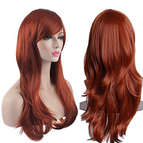 AKStore - Parrucca da donna, resistente al calore, 70 cm, con cappuccio per parrucca, colore: marrone