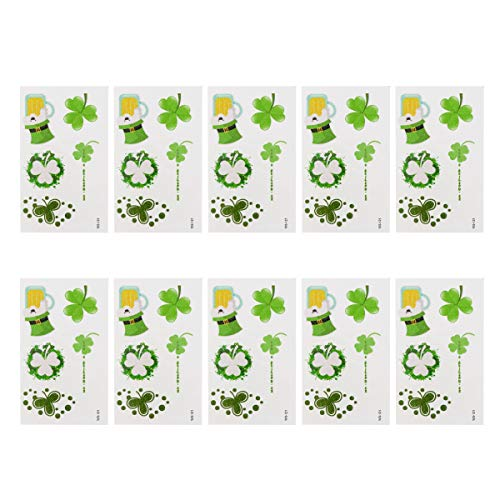 SOIMISS 10 foglietti Giorno di San Patrizio Adesivi per Tatuaggi Brillanti Glitter Trifoglio Irlandese quadrifogli Adesivi Body Art temporanei per l'ambiente (WS-121)