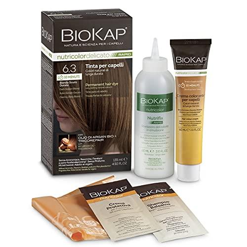 BIO KAP Nutricolor Delicato Rapid, Tinta capelli senza ammoniaca che rende i capelli morbidi, Colorazione capelli con 10 minuti di posa, 135 ml (6.3 Biondo Scuro Dorato)