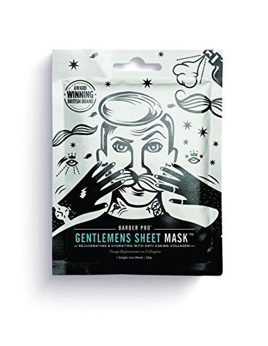 Barber Pro Gentlemen's Sheet Mask, Maschera ringiovanente ed idratante per uomini con collagene anti-invecchiamento.