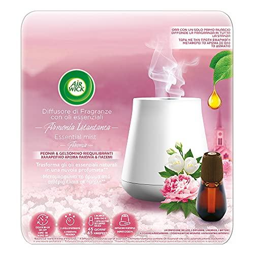 Airwick Diffusore di Oli Essenziali - 1 Confezione con un Profumatore per Ambienti, una Ricarica Fragranza Peonia e Gelsomino Riequilibranti