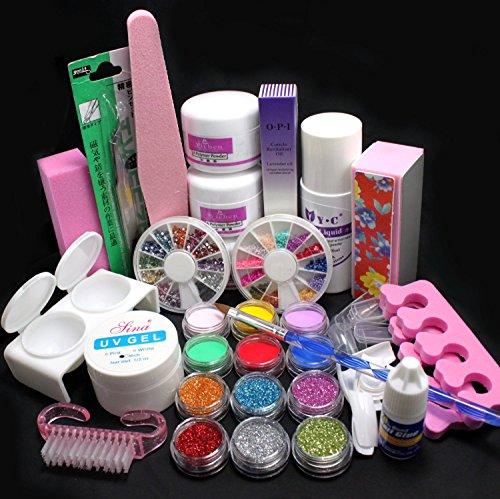 cofco 21in 1Pro Kit di decorazioni per unghie gel UV Spazzola di ammortizzazione Utensile unghie istruzioni colla colorato polvere acrilico Glitter 4Way Buffer Blocco abrasivi file Set Attrezzi 189