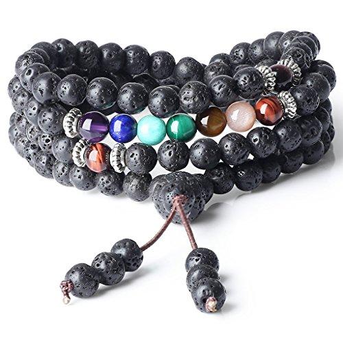 COAI Bracciale Collana 108 Perle Mala in Pietra Lavica e Perle dei 7 Chakra, Bracciale Buddhista Unisex