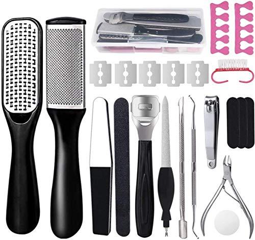 Kit per pedicure,23 in 1 kit di strumenti per pedicure professionale,Pedicure in acciaio inossidabile,la pelle morta Kit per la cura dei piedi per donne uomini salone o casa