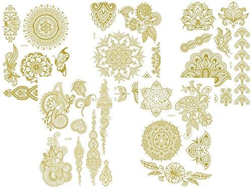5 fogli con 1-5 tatuaggi temporanei dorati metallizzati, tipo henné