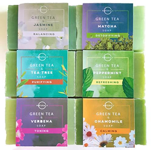 O Naturals Collezione di Saponi Naturali con Tè verde Erbe e Oli Essenziali Detergente Idratante Viso Corpo e Mani, totale 750g