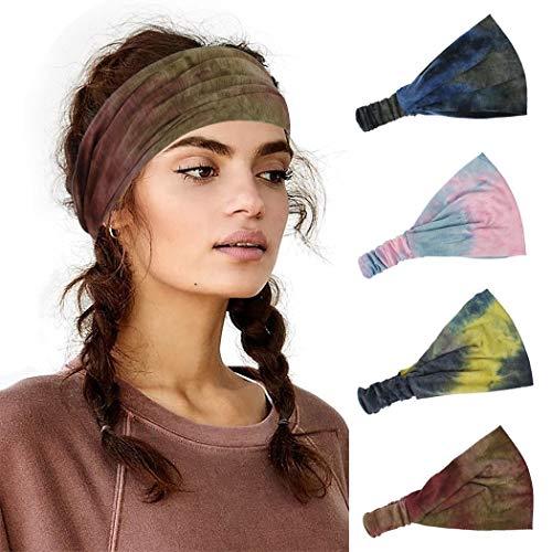 Sethexy Largo Cerchietti wicking Elastico Avvolgere la testa Tie Dye Print Cerchietto per capelli 4 pezzi Yoga Vintage Foulard In esecuzione Fascia per capelli per donne e ragazze