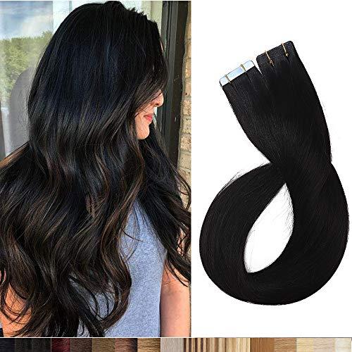 Silk-co Extension Capelli Veri Biadesivo 20 Fasce 100% Remy Human Hair 40cm #1 Nero Lucente 30g/Set