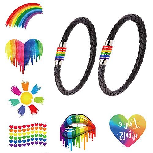 2 Pezzi Bracciale LGBT & 6X Gay Pride Bandiera Tatuaggi temporanei, Acciaio Inossidabile di Titanio Smalto Arcobaleno Intrecciato Braccialetti Arcobaleno per Donna Uomo
