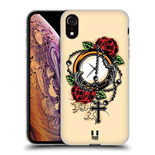 Head Case Designs Rosario Tatuaggi Old School Cover in Morbido Gel e Sfondo di Design Abbinato Compatibile con Apple iPhone XR