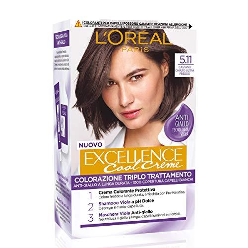 L'Oréal Paris Tinta Capelli Excellence Cool Creme, Copre i Capelli Bianchi, Colore Ricco dai Toni Freddi, 5.11