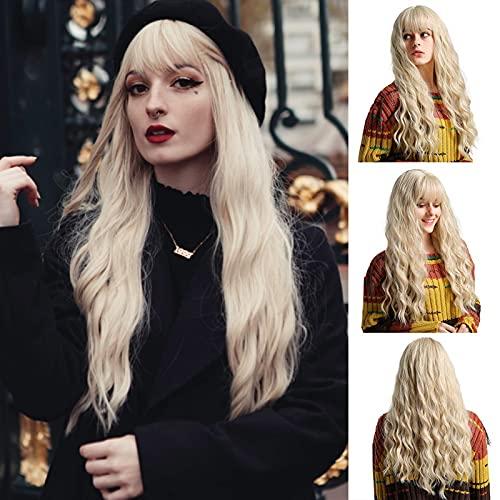 EMMOR Parrucca lunga bionda per donna - Parte centrale capelli sintetici naturali con parrucche ricci ondulati Air Bang, uso quotidiano per cosplay per feste