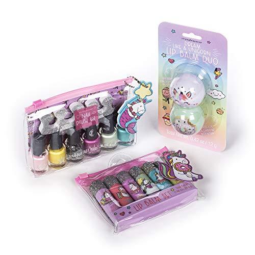 Tri-Coastal Design – Set di Trucchi per Bambina a Tema Ciambella Glassata, con Set di Burrocacao Profumati, Burrocacao in Pallina e un Kit di Smalti ad Acqua per Bambini (Cute Unicorns)