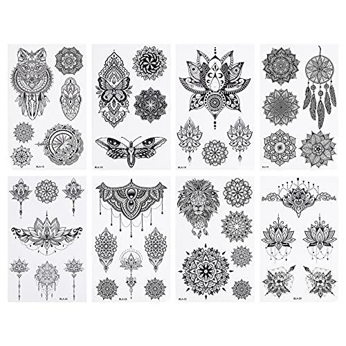 Lurrose 8Pcs Braccio Del Corpo Autoadesivo Del Tatuaggio Temporaneo Fiore Decorativo Elefante Piuma Body Art Tatuaggi Del Corpo Del Partito Decalcomanie per Le Donne Degli Uomini