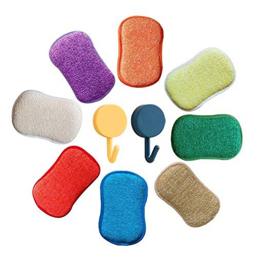 Spugne antibatteriche in microfibra, da cucina, con doppia spugna, inodori. Ideali per pentole antiaderenti. Confezione da 5. Colori casuali