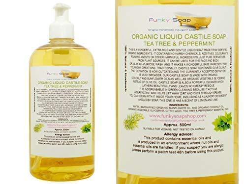 Funky Soap Organico Liquido Sapone di Castiglia, Tea Tree/Menta 100% Naturale Senza SLS 500ml