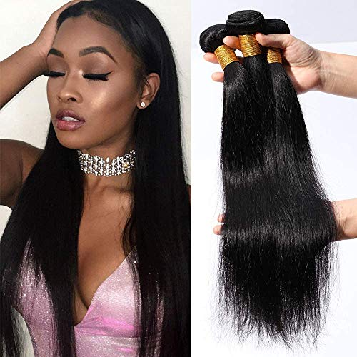 Elailite Extension Capelli Veri Tessitura Matassa Human Hair Vergini Brasiliani Umani Lisci 3 Fasce 300g 60cm/65cm/70cm Nero Naturale 1B#
