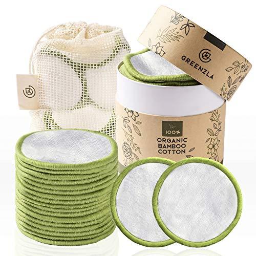 Greenzla Dischetti Struccanti Lavabili (20 Pack) con sacchetto di lavanderia lavabile e scatola rotonda per lo stoccaggio | 100% cotone organico di bambù | Dischetti struccanti riutilizzabili bambù