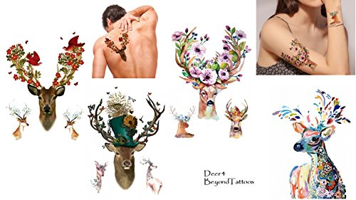 Set di 4 tatuaggi con cervo