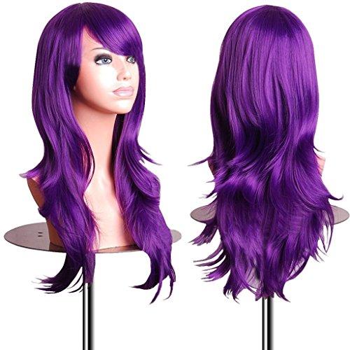 EmaxDesign Wigs - Parrucca da 70 cm / 28', anche per Cosplay, lunga, folta, con riccioli ampi, fibra resistente alle alte temperature, Accessorio di pregio dotato di pettinino e retina, viola scuro