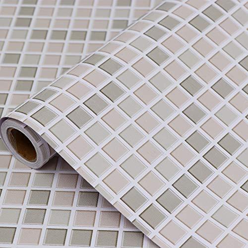 Hode Mosaico Carta Adesivi Decorativi per Piastrelle Cucina Vinile Impermeabile PVC Autoadesivo Decorazione 40X300cm Carta da Parati per Bagno cachi