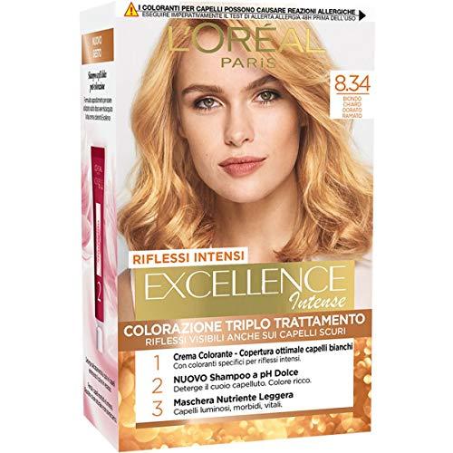 L'Oréal Paris Tinta Capelli Excellence Intense, Biondo Chiaro Dorato Ramato 8.34