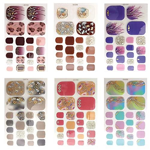 Adesivi Smalto per Unghie Piedi 12 Fogli Copertura Completa Nail Stickers Autoadesivi Unghie Piedi Adesivo Smalto per Unghie Adesivi Unghie per Piedi per Decorazioni Unghie Nail Art Fai Da Te