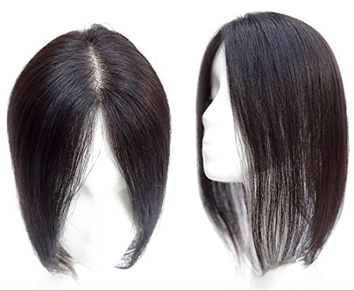 Extension per capelli umani Mono Topper con clip a corona per capelli con capelli diradanti, 15,2 cm, marrone chiaro