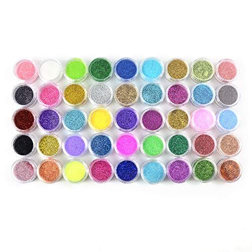 MEILINDS 45 Colori Set di polvere glitter per unghie Polveri glitter per unghie nail art