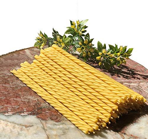Candele Rituali - 100% Cera d'Api Naturale - Set di 30 - Ø 0,65 x 19 cm - Durata di Combuszione 80 min – Shabbat – Hanoukka