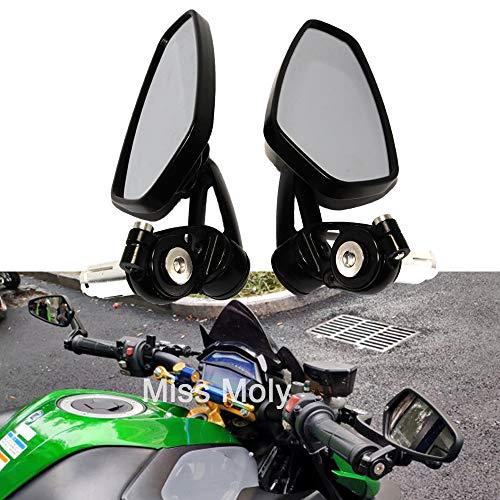 Motociclo Laterali Specchi 7/8'22mm Manubrio Lega di Alluminio Specchi Retrovisori per Scooter Cruiser Sport Bike(Nero)