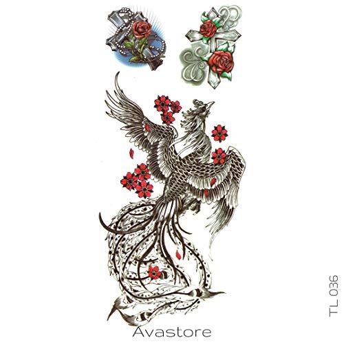 AVASTORE - Tatuaggio temporaneo da donna, motivo: croce, decorato con rose
