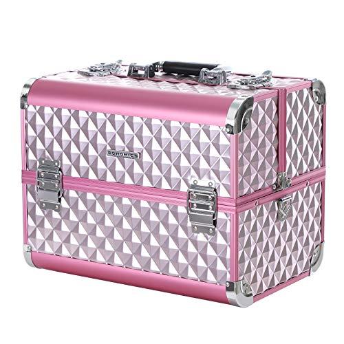 SONGMICS Beauty Case Porta Trucchi per Arte Unghie con Telaio in Alluminio Cofanetto per Truccatore Diversi Vassoi, Rosa JBC319P