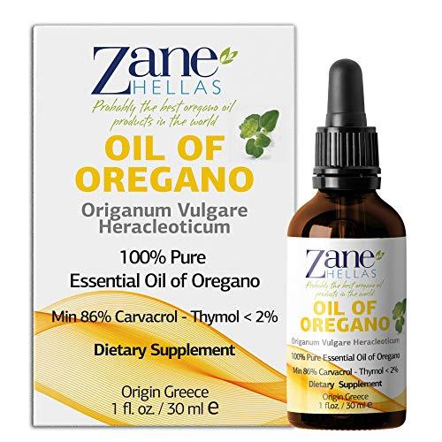 Zane Hellas 100% Olio di origano Non diluito.Puro Olio Essenziale Greco Puro di Origano.86% Carvacrolo Min.129mg Carvacrolo per porzione.Probabilmente Il miglior Olio di origano del Mondo.60 ml