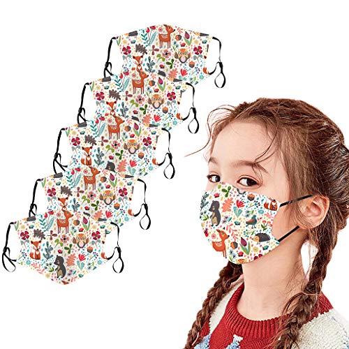 Maschere stampate natalizie per adulti Multicolore con paraorecchie a spazzola Bocca Viso Cotone, Lavabile, Tessuto riutilizzabile per ciclismo Campeggio
