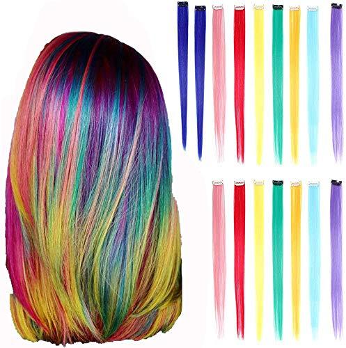 Estensione di capelli colorati, 16 Pezzi Extension Capelli Colorati Clip, Ciocche Colorate per Capelli in 8 Colori Diversi per Donne Acconciature Cosplay 50cm