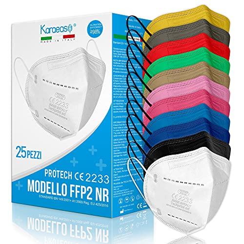 KARAEASY Mascherine Ffp2 Colorate Certificate CE Made In Italy Box da 25 Pezzi