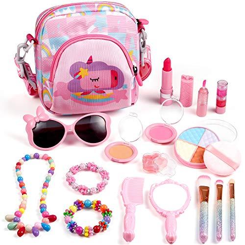 ARANEE Trucchi Bambina Set, 17 Pezzi Giocattoli per Il Trucco dei Bambini Lavabile Makeup Kit con Trousse Trucchi Trucco Giocattoli Bambini 3 4 5 6 Anni
