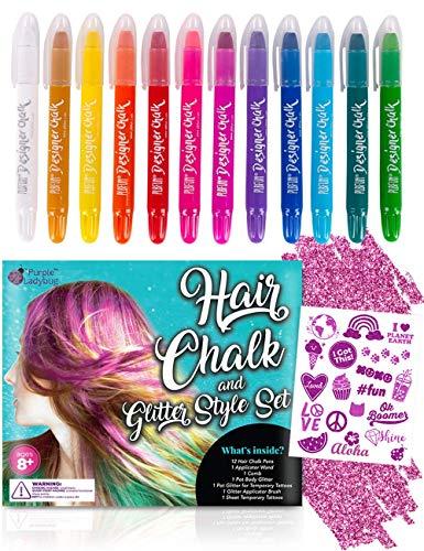 Purple Ladybug Set 12 Gessetti Colorati per Capelli con Tatuaggi Temporanei Glitter e Brillantini Viso - Tinta per Capelli Lavabile per Bambini e Adolescenti – Colore Capelli per Feste e Cosplay