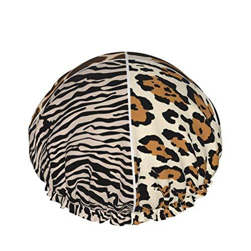 Zebra Giraffe Tiger Leopard Skin Cuffia per la doccia per le donne Cuffia per la doccia impermeabile e riutilizzabile per le donne Fode