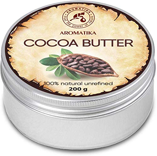 Burro di Cacao 200g - Theobroma Cacao (Cocoa) Seed Butter - Burkina Faso - Burro di Cacao non Raffinato e Puro al 100% - Idratante e Protettivo - Cura di Capelli - Viso e Corpo - Antirughe