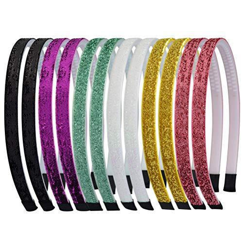12 Pezzi Cerchietti per Capelli Glitter Velvet Fascia Ribbon Multicolore Hairbands Accessori per Capelli 6 Colori