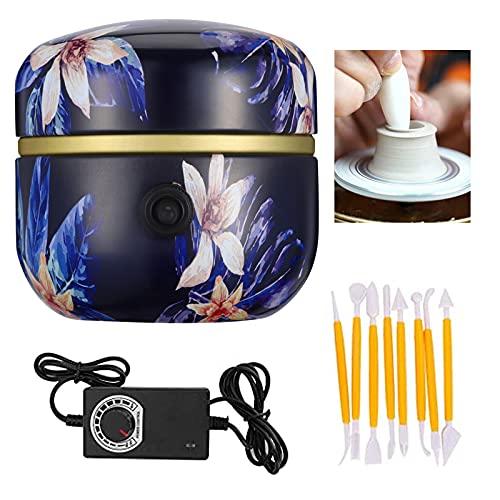 Kacsoo Mini Macchina per Ceramica Macchina per Ceramica Elettrica 1500 RPM Ruota per Ceramiche Elettrica Strumento per Argilla Fai-da-Te con Vassoio per Adulti Bambini Arte Ceramica (Blu scuro)
