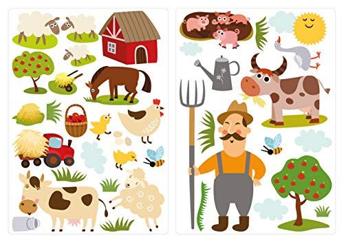 dekodino® Adesivo murale fattoria colorato in un set vivaismo decoro