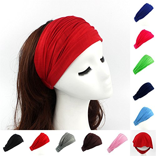 Fascia per capelli da donna, in cotone, 12 pezzi, bandana 2 in 1